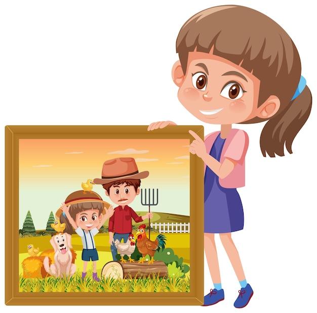 Um personagem de desenho animado segurando a foto de uma menina na fazenda com o pai