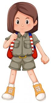 Um personagem de escoteira menina morena