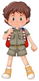 Um personagem de escoteiro menino morena