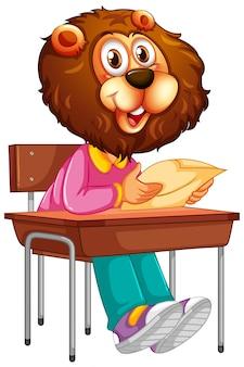 Um personagem de estudante de leão