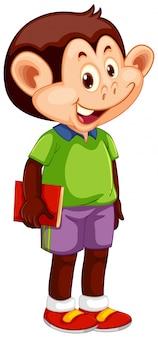 Um personagem de estudante de macaco