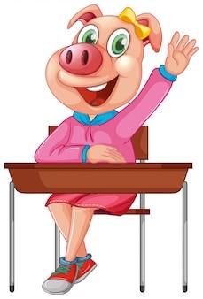 Um personagem de estudante de porco