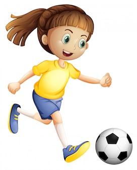 Um personagem de futebol feminino