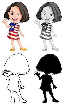 Um personagem de garota malasiana