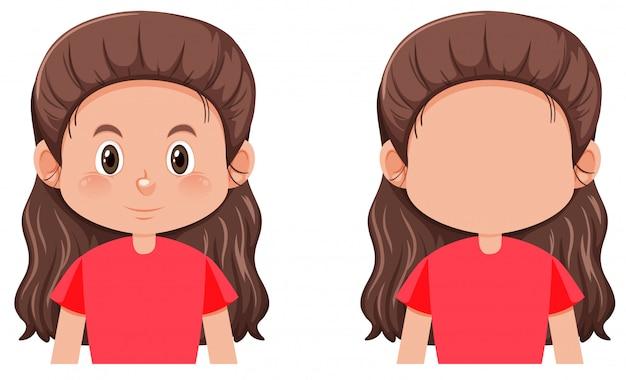Um personagem de menina morena de cabelos longos