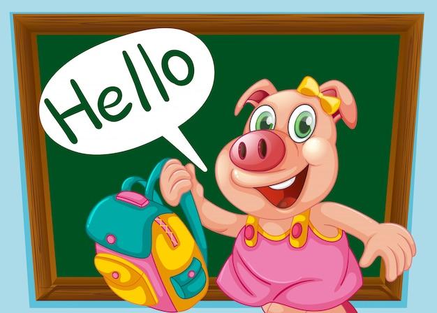 Um personagem de porco bonito