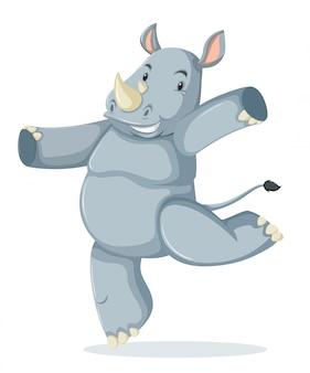 Um personagem de rinoceronte feliz