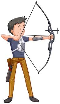 Um personagem de tiro com arco no fundo branco