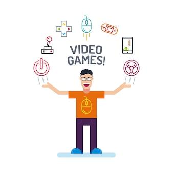 Um personagem do geek em camiseta laranja e vidro com as mãos para cima