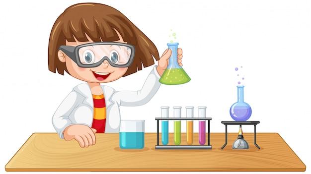 Um personagem garoto de laboratório