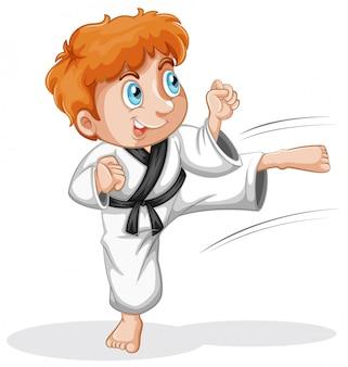 Um personagem garoto taekwondo