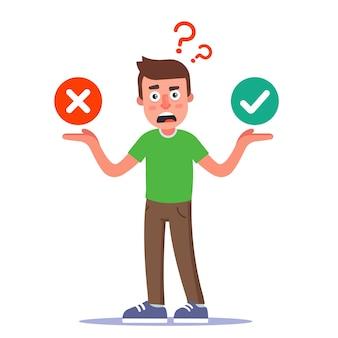 Um personagem incerto toma uma decisão. a escolha entre uma resposta positiva e uma negativa. ilustração plana.