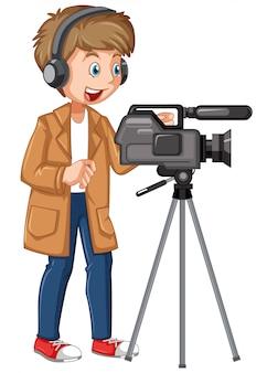 Um personagem profissional de cameraman