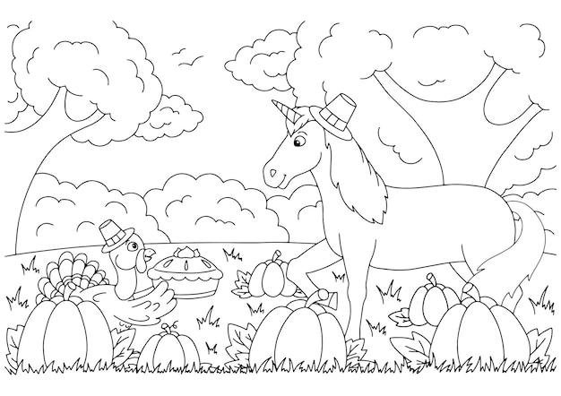 Um peru traz torta de abóbora para um unicórnio. página do livro para colorir para crianças. dia de ação de graças.