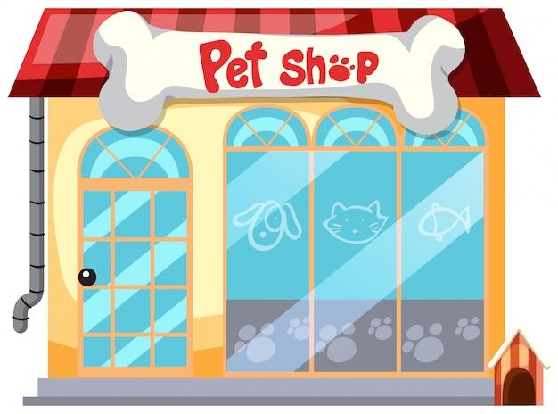Um pet shop em fundo branco