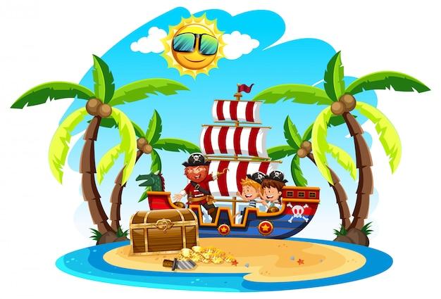 Um pirata com crianças na ilha