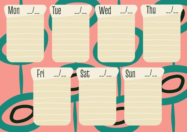 Um planejador semanal em um estilo retro modelo de cronograma de design de estilo moderno do midcentury para a semana