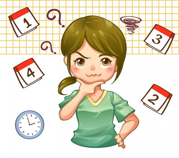 Um plano ocupado trabalho menina com agenda no calendário