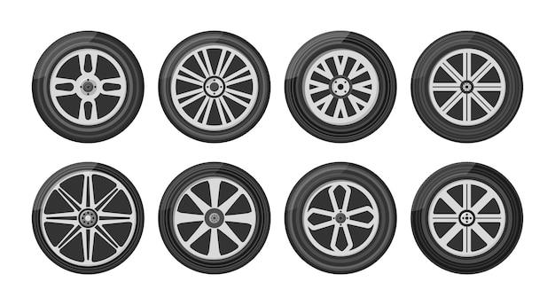 Um pneu de roda para o carro, a motocicleta, o caminhão e o suv. conjunto de ícone de rodas de carro. rodada e transporte, equipamento automóvel, ilustração em design plano.