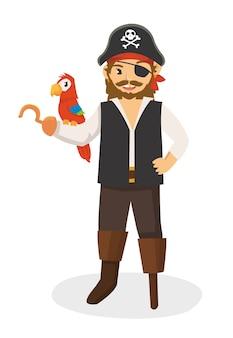 Um poderoso pirata gancho de pernas com seu papagaio