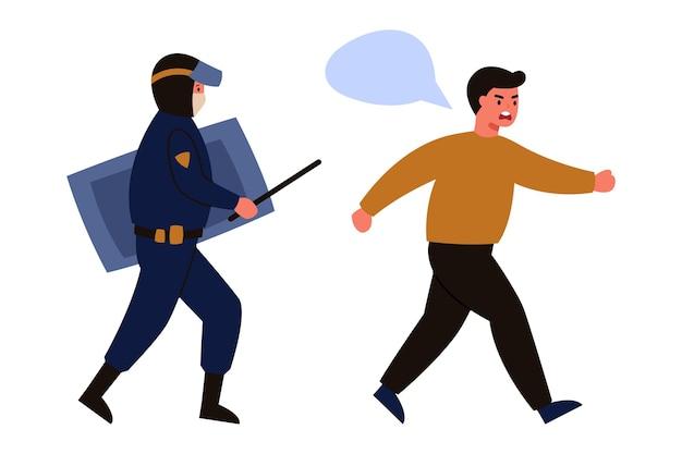 Um policial assombrando o homem isolado no branco