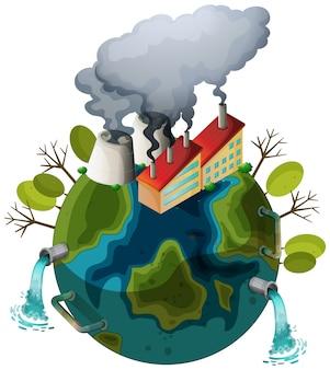 Um, poluído, terra, ícone