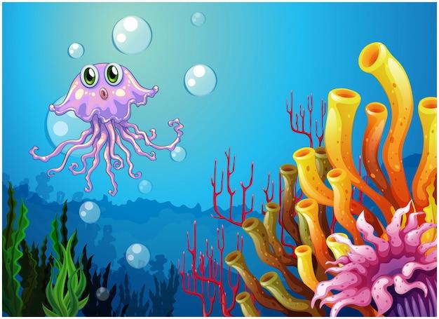 Um polvo e os recifes de coral sob o mar