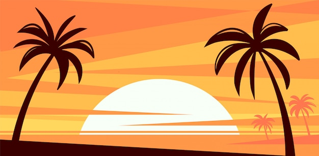 Um por do sol alaranjado flamejante em um paraíso tropical.