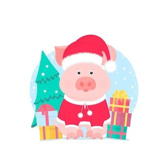 Um porco bonito em um terno e um chapéu de papai noel com um pompon peludo. caixas de presente, abeto.