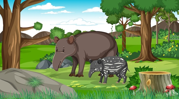 Um porco-da-terra adulto e um bebê na cena da floresta com muitas árvores