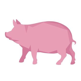 Um porco rosa em um fundo branco. em um estilo geométrico. ilustração vetorial.