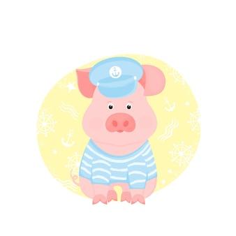 Um porquinho engraçado com uma camiseta listrada de marinheiro e viseira de capitão.