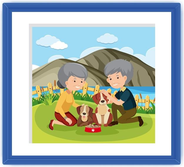 Um porta-retratos com um casal de idosos brincando de cachorro