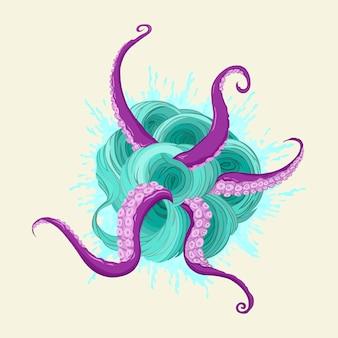 Um portal alienígena mágico com tentáculos ilustração em vetor desenhada à mão isolada no fundo