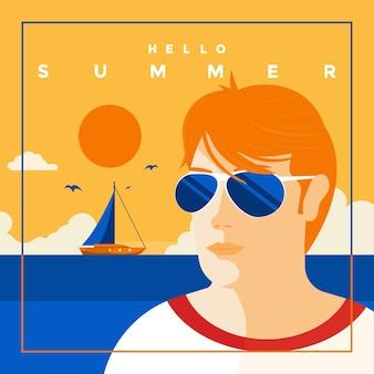 Um pôster de estilo vintage com um mar e um homem com óculos de sol em estilo design plano