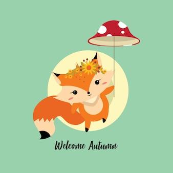 Um pouco de raposa cai com um guarda-chuva de cogumelo
