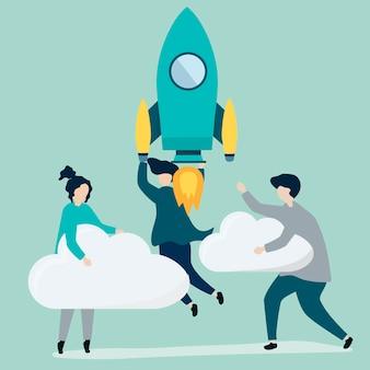 Um povo segurando um foguete lançado e nuvens