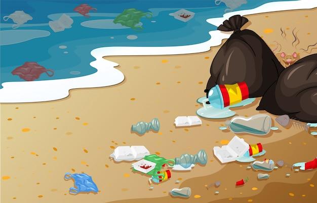 Um, praia poluição, fundo