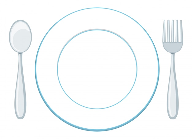 Um, prato branco, com, colher garfo