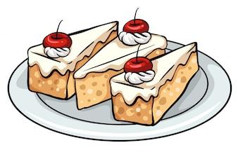 Um prato com bolos