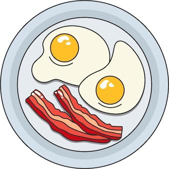 Um prato de ovos fritos com bacon