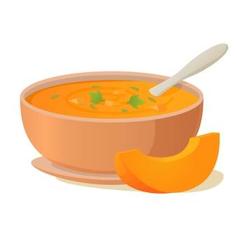 Um prato de sopa de abóbora com uma colher. sopa quente de vegetais.