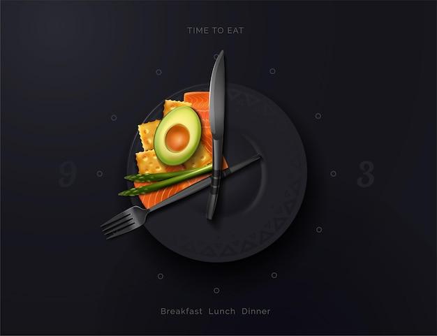 Um prato é um relógio com uma variedade de alimentos. hora das refeições intervalo dos alimentos