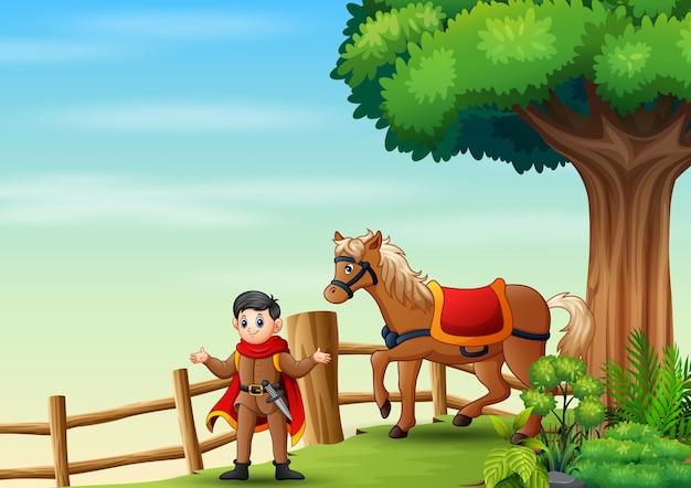 Um preço e cavalo dentro da cerca