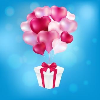 Um presente para balões coração arte