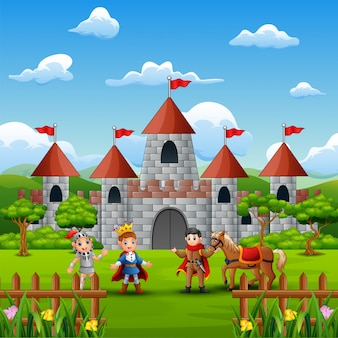 Um príncipe e cavaleiro na frente do castelo