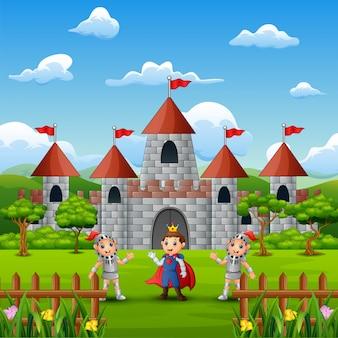 Um príncipe e dois cavaleiro na frente do castelo