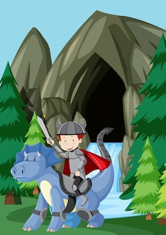 Um, príncipe, montando, dragão, em, natureza