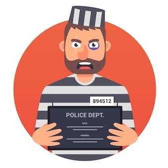 Um prisioneiro com um sinal na ilustração de mãos
