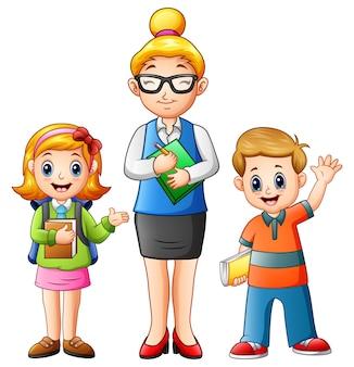 Um, professor feminino, com, estudantes, segurando um livro